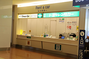 4. After reaching the North Wing, you can see TOYOTA Rent a Car and Times Car Rental reception desks on the right side.