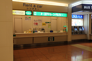 6. In front of Bus Ticket Counter, there are Times Car Rental and TOYOTA Rent a Car reception desks.