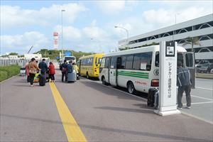 4. The bus stop is situated at the end of the sunshade,