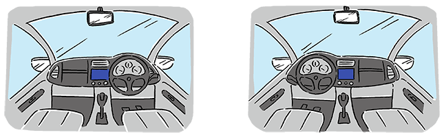 Difference of handle position Japan is right-hand drive → Korea is left-hand drive