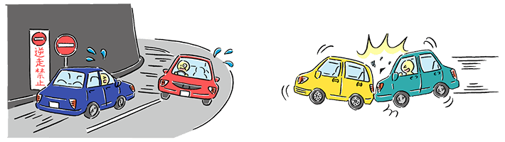 In case of ①, drivers make mistakes of entry road, so accidents happen. In case of ②,drivers collide towards a car, which stops or accidents are at the parking lots.